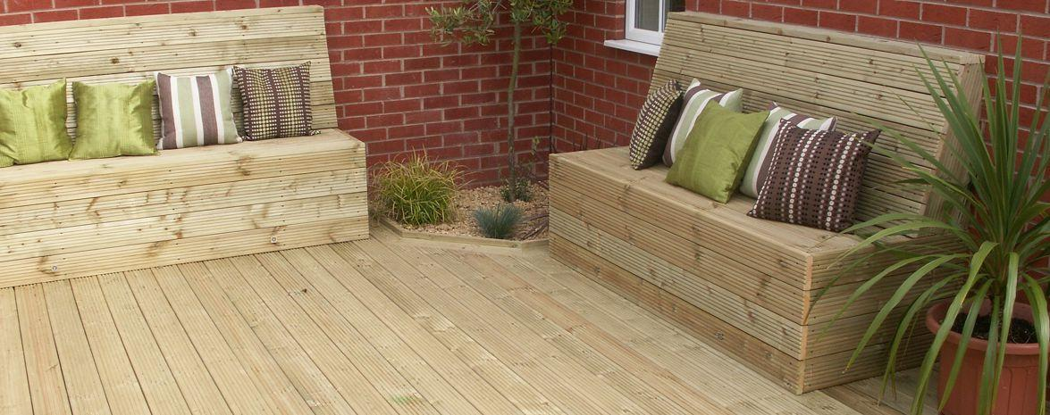 Large Timber Deck With Built in Seating